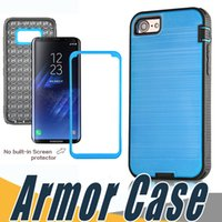 Wholesale Film X Blacks - Hybrid Brushed Dual Layered Shockproof Armor Case With Screen Film For iPhone X 8 7 6 6S Plus Samsung Note 8 S7 Edge S8 Plus
