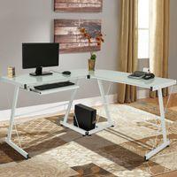 Wholesale home office computer desks resale online - White L Shape Computer Desk PC Glass Laptop Table Workstation Corner Home Office
