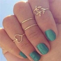Wholesale cute midi rings resale online - 2015 New Set Rings Urban Gold Plated Crystal Plain Cute Above Knuckle Ring Band Midi Ring Set auger leaves ring P