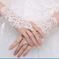 Wholesale Elegant Wrist Rings - Elegant Tulle White Ivory Red Lace Bridal Gloves Wrist Length Crystal Matched with Wedding Dress Gloves Hook Finger Wedding Gloves