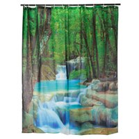 Wholesale Thick Polyester Shower Curtain - Wholesale- 180*180 CM Waterproof 3D Thick Vivid Waterfall Pattern Bath Shower Curtain