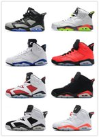 Wholesale White Plush Cat - Air Retro 6 VI Man Basketball Shoes AAA high quality red grey white black cat maroon infrared carmine sport blue sneaker wholesale