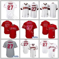 Wholesale Anaheim Angels Jersey Black - Los Angeles Angels 27 Mike Trout Jersey Flex base LA Angels Mike Trout Baseball Jerseys cool Base of Anaheim White Pullover Red Grey