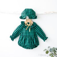 Wholesale INS new arrivals autumn baby kids climbing romper long sleeve Plaid print ruffle collar girl kids romper hat kid clothing romper sets