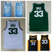 Wholesale New School - Indiana State Sycamores Larry Bird College Basketball Jerseys High School 33 Larry Bird Jerseys New Valley Baby Blue Stitched Shirts
