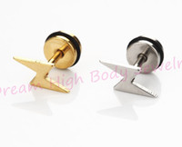 Wholesale Titanium Fake Plugs - Lightning Earring Flash Gold Black Silver Titanium Steel Men Ear Stud Punk Cut Cheaters Fake Plug Fashion Jewelry 60pcs lot