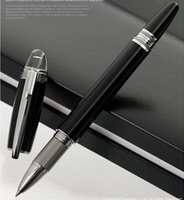 Wholesale High Quality Ball Pen - Luxury Black Resin MB-SW High Quality Best Design Sliver Clip and Pure Black Roller Ball Pen Ballpoint Pen With Number.