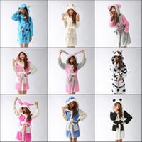 Wholesale pajamas cat print - Wholesale- Unisex stitch angel Cow Rabbit eeyore sulley monster Panda cat sheep Pajamas Coral Sleepwear bath robes dressing night gowns