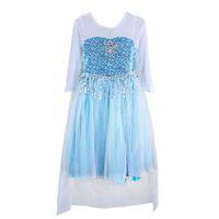 замороженные костюмы принцессы оптовых-Девушки Frozen платье принцессы платье блестки мыс платье с длинным рукавом кружева сращивания наряды фото реквизит костюм для 5-10 т