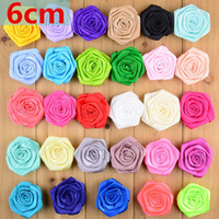 """Wholesale Rosette Flowers Mix - Wholesale 300pcs lot Boutique 2.36"""" Satin Silk Rose Flower Rolled Rosettes For Shoes Garment Hair Accessories Free Shipping MH20"""