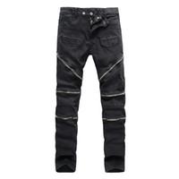 Wholesale Pattern Pencil - Wholesale-New 2016 High Street Tide Brand Rider Denim Men pants Bardian zipper Solid Slim High Quqlity cotton Male Biker Jeans