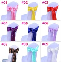 Wholesale Chair Tie For Wedding - Wedding Chair Cover Sash Bow Tie Ribbon Decoration Wedding Party Supplies 16 Color for Choose c176