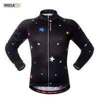 Wholesale Cycling Tops Wholesale - WOSAWE Star Long Sleeve Bicycle Jerseys Bike Sports Wear Unisex Outddor Cycling Clothes S-XXL 2017 Wholesale 2510033