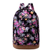 Wholesale Korean Bags For Sale - Wholesale- Hot Sale Fashion Classic Flower Print Canvas Backpack Casual Women Travel Backpacks for Teenage Girls School Computer Bags