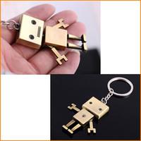 ingrosso anello chiave del robot-Catene chiave del robot del retro metallo sveglio retro, portachiavi del supporto dell'anello chiave del pendente dei sacchetti dei portachiavi dei monili di modo