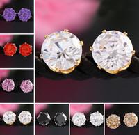 Wholesale Korean Jewellery Wholesalers - Earings for Woman Gemstone Crystal Stud Earrings Jewellery Valentine Gift Korean 925 Silver 18K Gold Plated Stud Earrings Fashion Jewelry