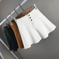 Wholesale High Waist Skirt Korean - 2017 Spring And Summer Skirts New Korean High Waist Denim Front Button All-match Slim Pleated Skirt College Style Solid Color