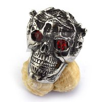 Wholesale Men s Wicked Stainless Steel Skull Ring with Red Eyes Badass Rings Jewelry US Size to r003645