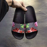 Wholesale New Arrival Fashion Euro - new arrival 2017 mens and womens fashion flower printing leather slip-on slide sandals unisex size euro 35-45