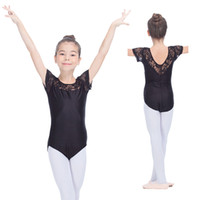 Wholesale Girls Shiny Spandex - Shiny Nylon Lycra Ballet Leotard with Lace Cap Sleeve Girls Dance Costume Kids Gymnastics Dancewear Full Sizes