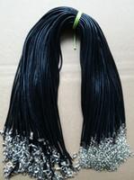 18 lederband halskette großhandel-Schwarze Wachsschnur-nachgemachte lederne Halskette geflochtenes Seil 100pcs 1.5 / 2mm 18 Zoll-Kette mit Karabinerverschluss für die Schmuckherstellung