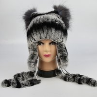 Wholesale cap rex for sale - Group buy New Women s Real Rabbit Fur Hat Knitted luxury Rex Rabbit Fur Ear Protector Caps Winter Warm Real Silver Fox Fur Headwear