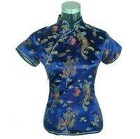 Wholesale Womens Chinese Blouses - Special Offer Navy Blue Summer Womens Blouse Satin Shirt Top Mujeres Camisa Chinese Traditional Clothing Size S M L XL XXL A0018