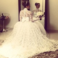 Wholesale High Collar Dresses For Church - 2017 Elegant High Neck Lace Wedding Dresses Lace Floor Length Ball Gown Puffy Bridal Gown Custom Made Back Zipper For Church Wedding