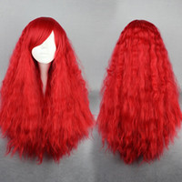 pelucas rizadas de alta calidad de largo al por mayor-MCOSER envío gratis alta calidad sintética 70cm largo rizado Sexy Red Lady Lolita peluca de Halloween