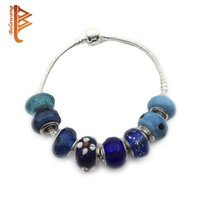 Barato Misturas De Contas De Vidro Por Atacado-BELAWANG Mix Style Blue Series Handmade Lampwork Murano Glass Charm Beads Para Pandora Original Pulseira DIY Making Wholesale 50pieces / 1lot