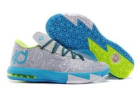 Wholesale Kd Vi Shoes For Sale - New KD 6 VI Grey Blue Fluorescent Green Mens Basketball Shoes Men Cheap Kds KD6 Kevin Durant Sneakers For Sale Size 7-12