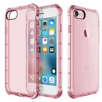 Wholesale Rubber Case Iphone Gold - Shockproof Transparent Soft Tpu Gel Rubber Bulky Back Corner clear phone Case Cover for iphone 6s cases iphone 7 plus free shipping