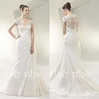 Wholesale Enzoani Sexy Wedding Dress - ENZOANI Mermaid With Sleeve Wedding Dresses 2015 Sexy V Neck Sheer Illusion Lace Short Sleeve Wedding Dresses
