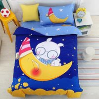 Wholesale Duvets For Children - New Rabbit and Moon Printed 100% Cotton Cartoon Bedding Set for Kids   Children Duvet Cover Set