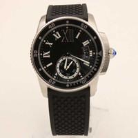 relógios mens grande banda venda por atacado-Venda por atacado - novo Luxo calibre automático de borracha preta banda de vidro de volta esporte de safira qualidade grande mostrador do mens relógios