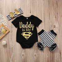 Wholesale Black Baby Onesies - Baby Christmas Pajamas Romper Set Kids Clothing Toddler Outfit Infant Onesies+Headband+Legging Summer Leotards Children Jumpsuit Suit