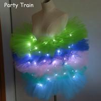 Wholesale Tutu Led - Fashion dance LED tutu mini skirt Up Neon Fancy Rainbow Mini Tutu Fancy Costume Adult light Skirt TFS Corset Tutu Skirt