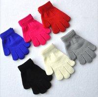 Wholesale Kids Cotton Finger Gloves - 24pairs lot 15cm children winter warm mittens five gloves girl boy kids multicolor pure knitted finger glove