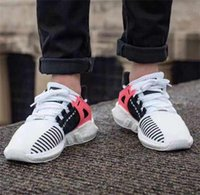 "Wholesale Men Pointed Casual Shoe - New Arrival Authentic Top Quality EQT Support 93 17 ""White Black Pink"" Men Women Casual Shoes Fashion Stripe Mens Shoes 36-45"