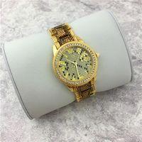 Wholesale Leopard Gold Watch - Top Qualtiy Fashion Women watch Leopard Gold Charisma Stainless steel Luxury Lady watch Charming Quartz Female Clock bracelet free shipping