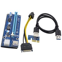 Wholesale Pci E Graphics Card - Free DHL For Bitcoin Miner Riser PCI-E PCI-E Express 1X to 16X Graphics Card Riser USB 3.0 SATA to 6Pin Power Supply 60cm Latest VER 006C