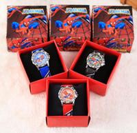 relojes de spiderman para niños al por mayor-Envío Gratis 100 Unids Spiderman de Dibujos Animados Niños Niñas Niños Niños Estudiantes Reloj de pulsera de Cuarzo Congelado Muy Popular tiene caja de regalo