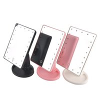 Wholesale Desktop Cosmetic Mirrors - 16 22 LED Lights Make Up Mirror Cosmetic Desktop Portable Compact LED lights Travel Makeup Compact Mirror Black White Pink Flat 2805078
