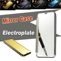 Wholesale Iphone Touch Screen Mirror - Mirror Electroplate Case View Window Sleep Awake Screen Touch Smart Cover For iPhone 8 7 Plus 6 6S 5S 5 Samsung Note S8 S7 Edge With Package