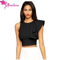 Wholesale Red Lace Camisole - Summer blusas 2016 femininas verao vest tee Black One-shoulder Ruffle Crop Top Women's Shirt camisole Clothing Clubwear LC25434