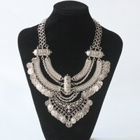Wholesale Gypsy Pendant - Wholesale-2016 new fashion bohemian power necklace collar choker necklace vintage gypsy ethnic statement necklace women Maxi fine Jewelry