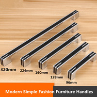 Wholesale Black Furniture Wardrobe - 96 128 160mm modern simple fashion furniture decoration handles silver black kitchen cabinet dresser wardrobe door handle chrome