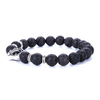 Wholesale Making Beaded Jewelry - Free Shipping Mix Style Made with Love Lava Stone Diffuser Jewelry Natural Volcanic Rock 8mm Charm Bracelets Prayer Men Beads Bracelet 2017