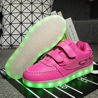 Wholesale Neon Casual Shoes - 2017 Girls light up led luminous shoes color glowing casual fashion with new simulation sole charge for Boys kids neon children
