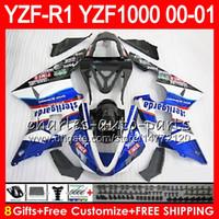 Wholesale yamaha r1 white body kit - Bodywork For YAMAHA YZF1000 YZF 1000 YZFR1 00 01 98 99 74NO32 R 1 Blue white YZF-R1000 Body YZF-R1 YZF R1 2000 2001 1998 1999 Fairing Kit